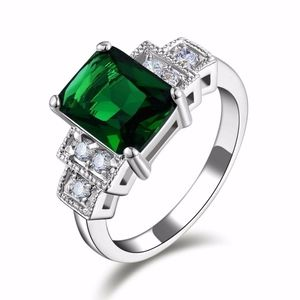 Emerald Cut Simulated Emerald Ring Size 6